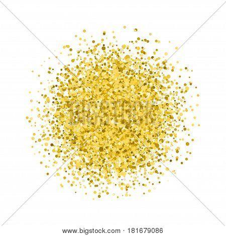 Glitter texture. Golden round. Isolated on white background.