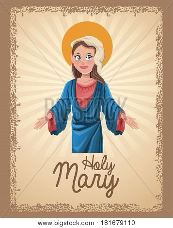 holy mary religion card vctor illustration eps 10