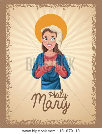 holy mary blessed card vctor illustration eps 10