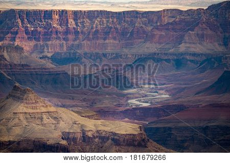 Grand Canyon with Colorado River in Grand Canyon National Park South Rim Grand Canyon Arizona Usa