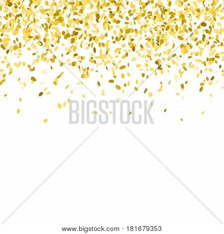 Abstract background with golden confetti. Vector illustration of many falling sprinkles. Seamless border pattern. Isolated on white.