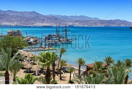 Central public beach of Eilat - famous resort city in Israel and Middle East