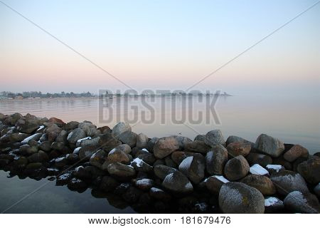 Snow coated stone pier so lovely but cold