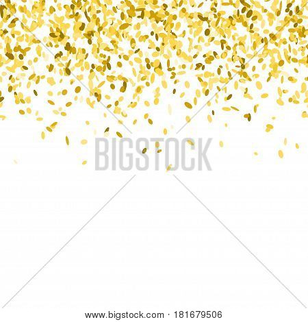 Abstract background with golden confetti. Vector illustration of many flying sprinkles. Seamless border pattern. Isolated on white.