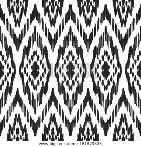 Vector Ikat seamless pattern. Navajo, aztec ornament. Creative hippies print. Abstract background. American ethnic backdrop.