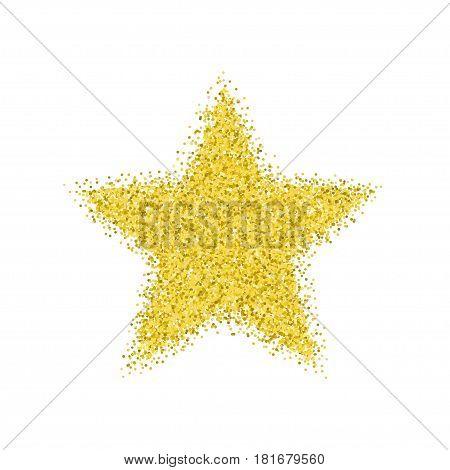Glitter texture. Golden star. Isolated on white background.