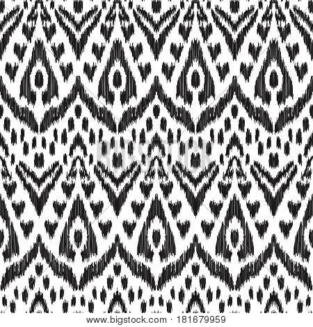 Vector illustration of black and white colored Ikat seamless pattern. Creative hippies print. Stylish ethnic backdrop. Scribble effect.