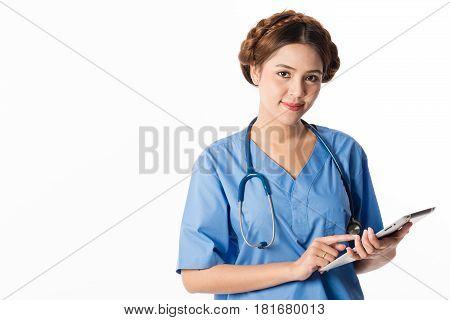 Female Asian nurse using a digital tablet & wearing a blue coat on white background useful for digital health care digital medical care ehospital e-medication concepts