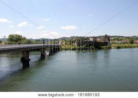 HRVATSKA KOSTAJNICA, CROATIA - JUNE 19: Bridge over the River Una in Hrvatska Kostajnica, Croatia on June 19, 2016.