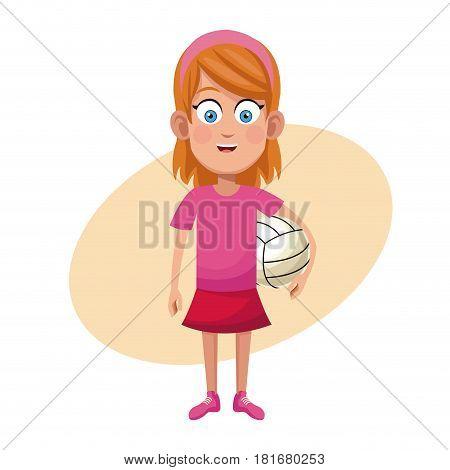 girl volleyball sport practice vector illustration eps 10