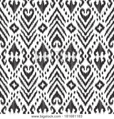 Vector Ikat seamless pattern. Stylish ethnic background.