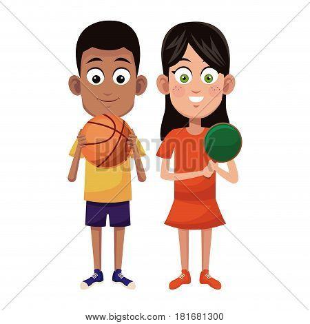 couple children sport basketball and ping pong vector illustraiton eps 10