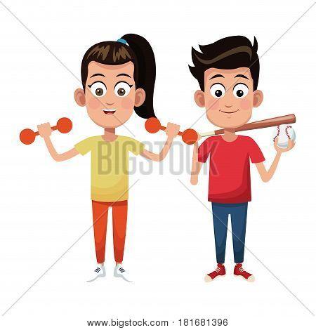 couple children sport weight baseball vector illustraiton eps 10
