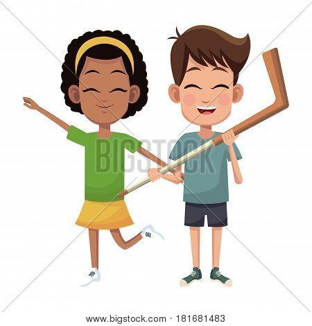 couple children hockey sport vector illustraiton eps 10