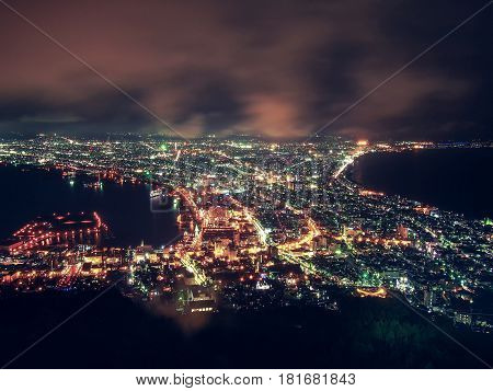 Hakodate City view from the top of mountain Hakodate at Night Hokkaido Japan