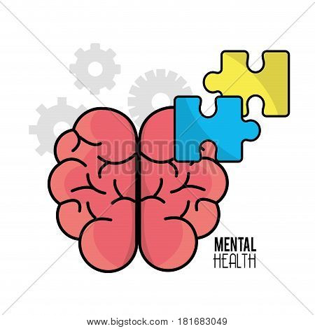mental health brain with puzzle tokens, vector illustration