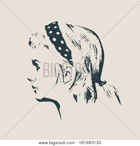 Face side view. Elegant silhouette of a female head. Vector Illustration. Ponytails hair style. Monochrome gamma.