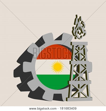 Gear with gas rig simple icon, textured by Kurdistan flag. Heavy and mining industry concept. 3D vector icons
