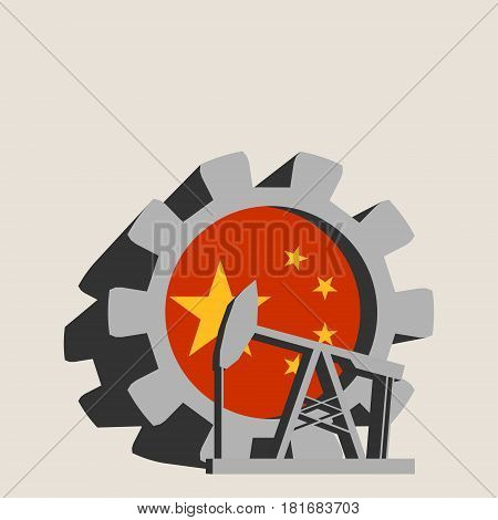 3D cog wheel with oil pump textured by China flag. Heavy and mining industry concept.