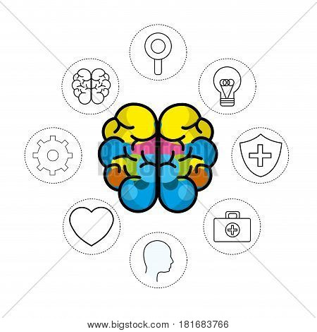 mental health brain with care tips, vector illustration