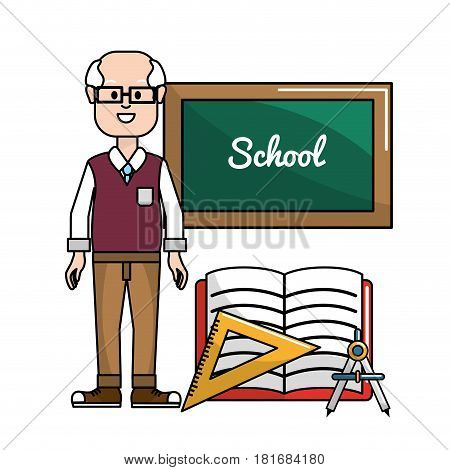 teacher with board, triangle rule and compass tools, vector illustration