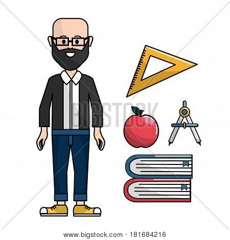 teacher with triangle rule, apple, compass and books, vector illustration