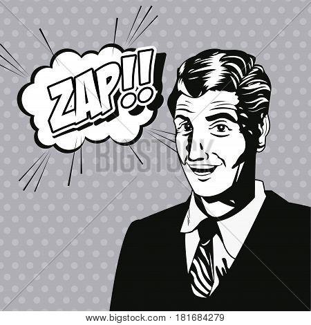 man zap bubble speech style pop art vector illustration eps 10