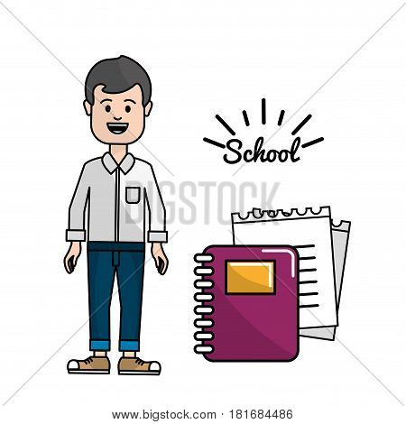 teacher with rings notebook and its papper, vector illustration