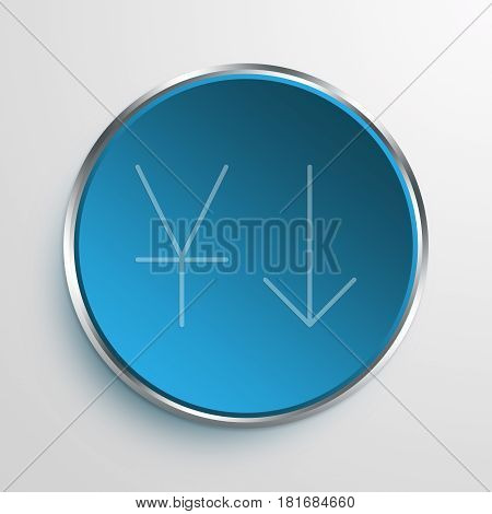 Blue Sign Decrease In Yuan Symbol icon Business Concept