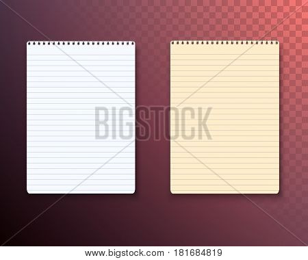 Illustration of Vector Notepad Set Isolated on Transparent Background. Photorealistic Paper Notebook Template