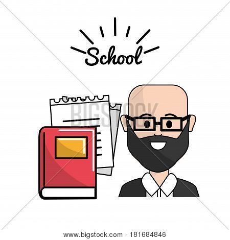 teacher with books and notebook papper, vector illustration design