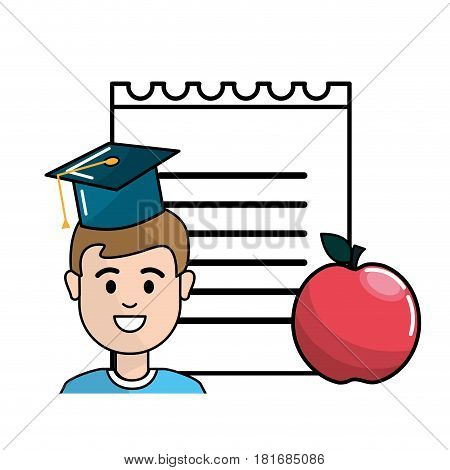 student with hat graduation, notebook papper and apple, vector illustration