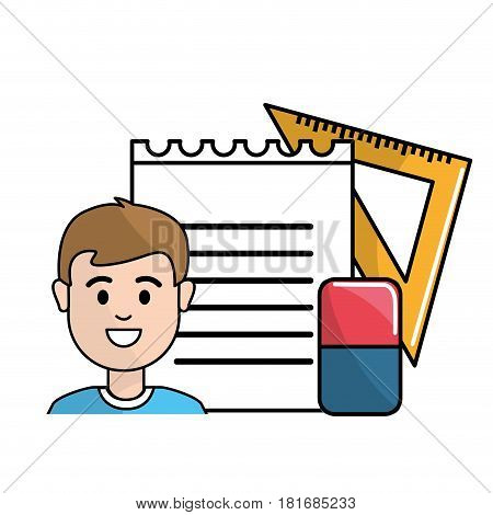 student with notebook papper, eraser and triangle rule, vector illustration