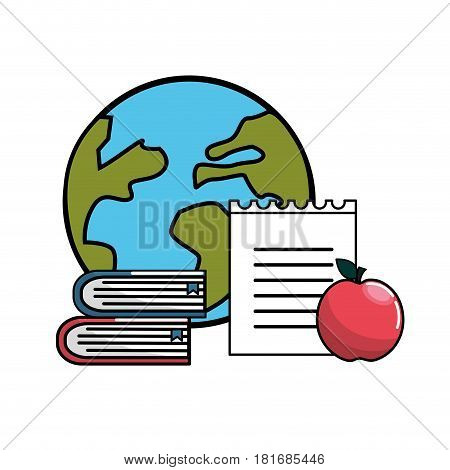 global planet with books, notebook papper and apple, vector illustration