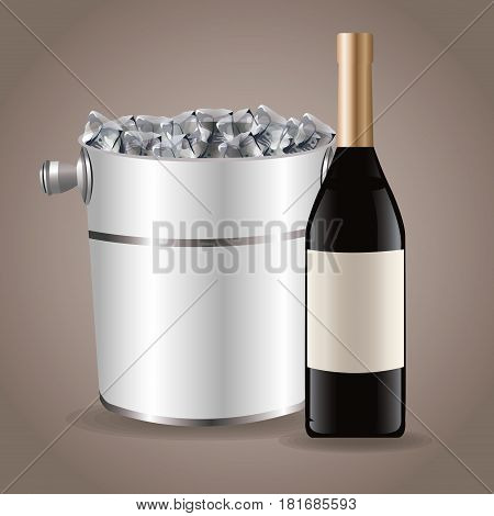 bottle wine ice bucket drink image vector illustration eps 10