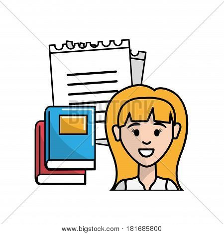 teacher with notebook pappers and books, vector illustration design