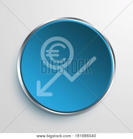 Blue Sign euro inflation Symbol icon Business Concept