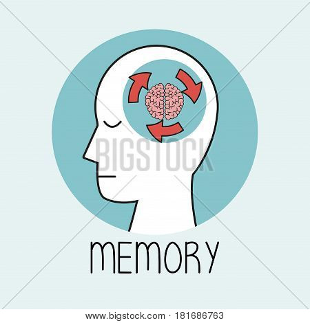 profile human head brain memory vector illustration eps 10