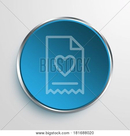 Blue Sign Heart Invoice Symbol icon Business Concept