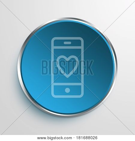 Blue Sign Heart Phone Symbol icon Business Concept