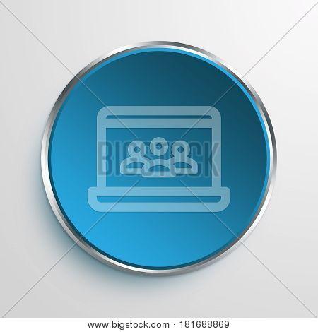 Blue Sign laptop teleconference Symbol icon Business Concept