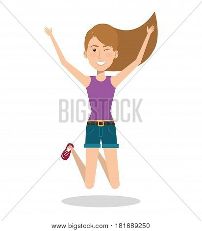 Woman celebrating with a leap vector illustration design