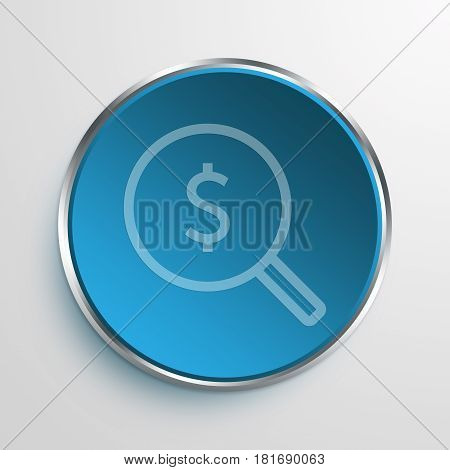 Blue Sign Money search Symbol icon Business Concept