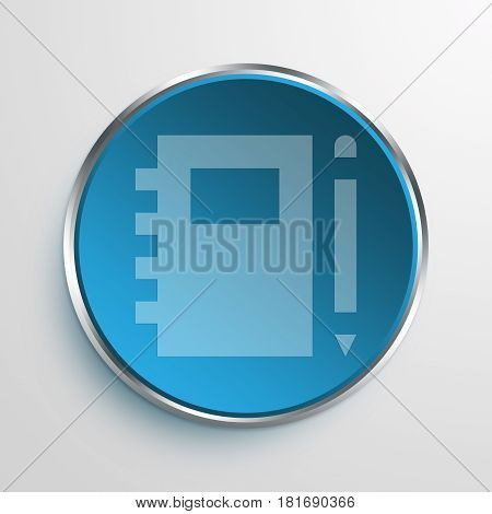 Blue Sign notebook and pencil Symbol icon Business Concept