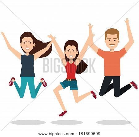 people celebrating with a leap vector illustration design