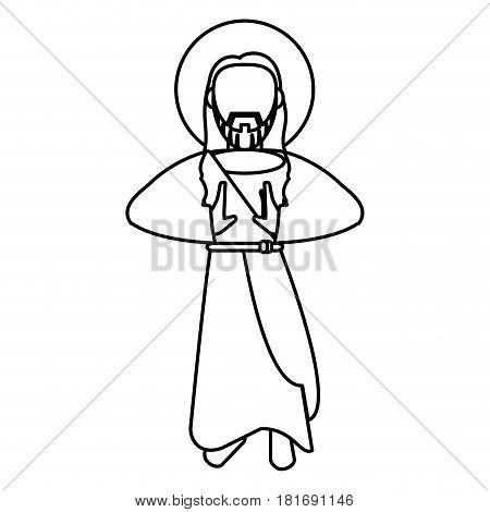 jesus christ sacred spirituality outline vector illustration eps 10