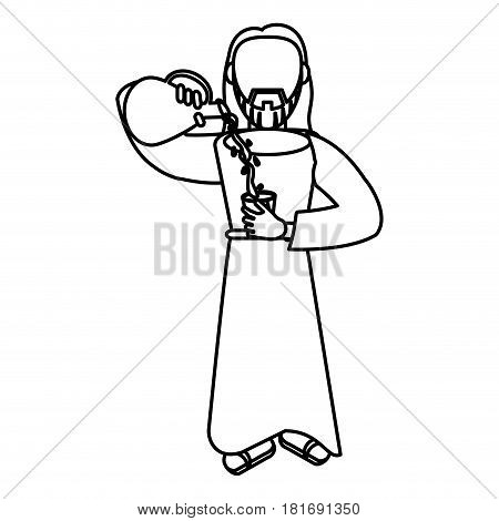 jesus christ miracle water wine outline vector illustration eps 10