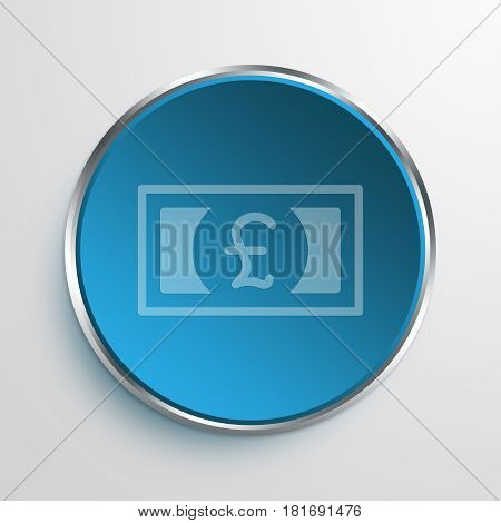 Blue Sign Pound Bill Symbol icon Business Concept