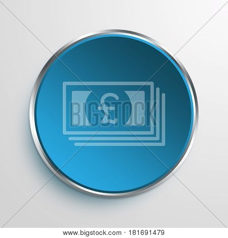 Blue Sign Pound Bills Symbol icon Business Concept