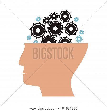 human head gear wheels cog vector illustration eps 10